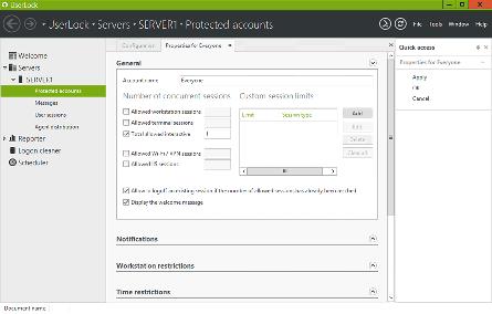 interfejs aplikacji User Lock